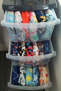 plastic drawers to store cloth diapers
