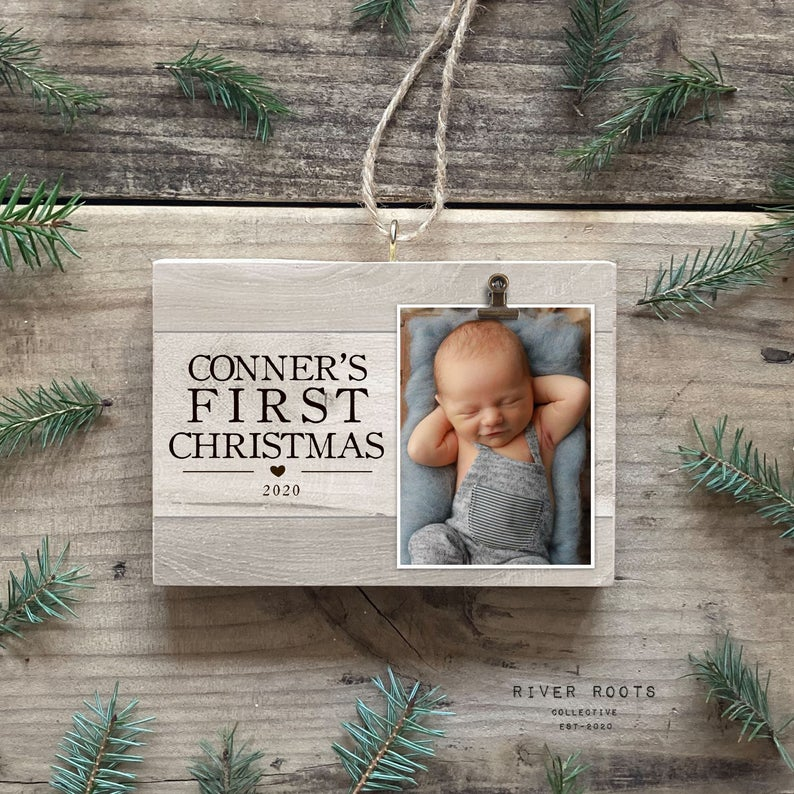 little photo frame baby's first christmas ornament