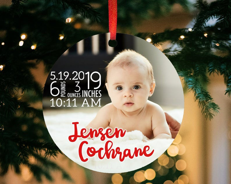 personalized photo baby's first christmas ornament