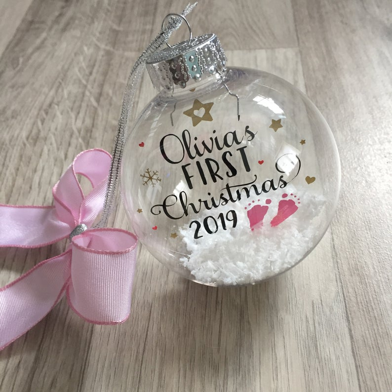 snow bauble baby's first christmas ornament
