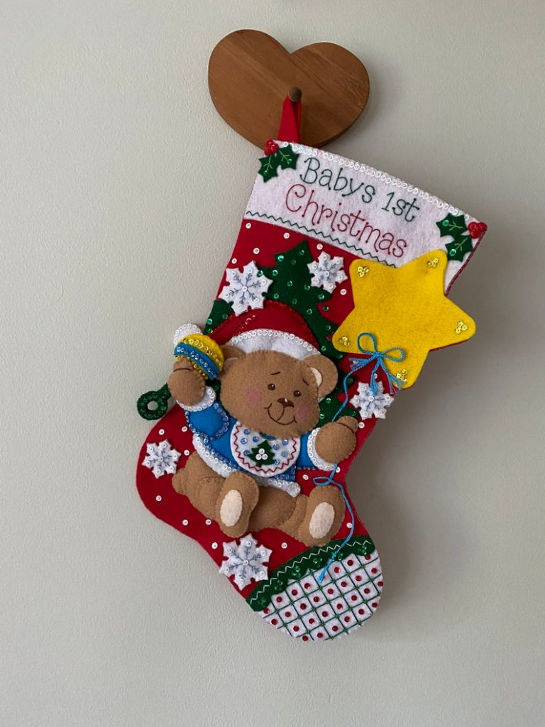 Baby's first christmas baby stocking