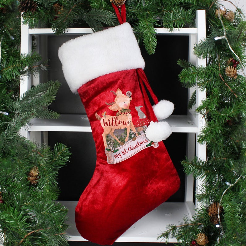 Luxury Red Stocking baby's first christmas