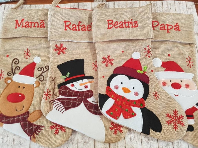 Personalized embroidered baby Christmas stockings