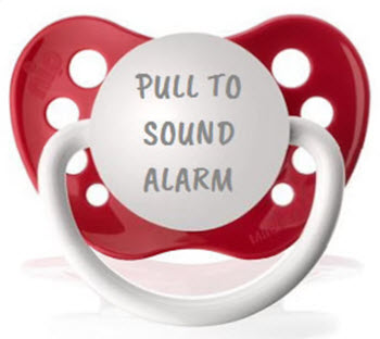 pull to sound alarm funny pacifier