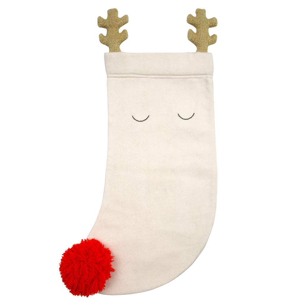 reindeer knitted baby stocking